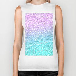 White mandala henna pattern illustration Mermaid purple turquoise watercolor floral pattern Biker Tank