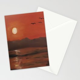 Sunset, romantic landscape, oil painting by Luna Smith, Luart Gallery Stationery Cards