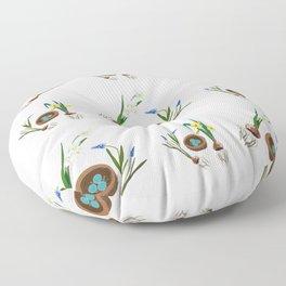 Easter flowers and birds nest pattern Floor Pillow