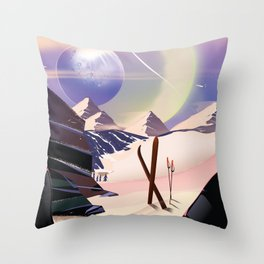 Proxima Centauri Vintage Sci-fi Ski travel poster Throw Pillow