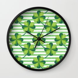 Four Leaves Clover St. Patrick's Day Pattern Wall Clock