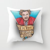 anchorman Throw Pillows featuring Anchorman by Tiffany London
