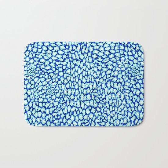 Blue Glitter Leopard Print Bath Mat