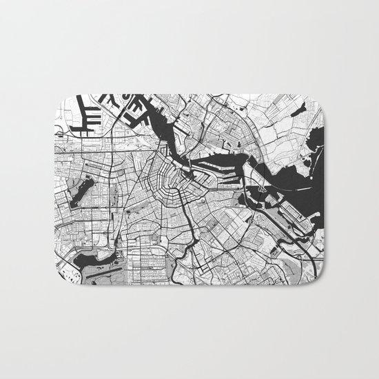 Amsterdam Map Gray Bath Mat