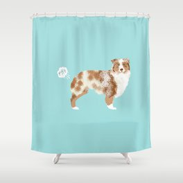Australian Shepherd red merle funny dog fart Shower Curtain