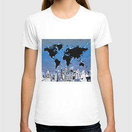 world map city skyline 8 T-shirt