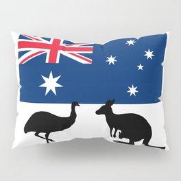 Australian Flag with Emu and Kangaroo Pillow Sham