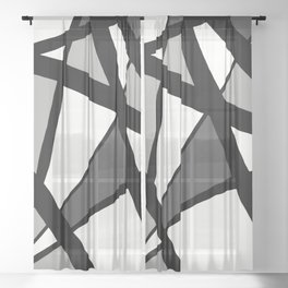 Geometric Line Abstract - Black Gray White Sheer Curtain