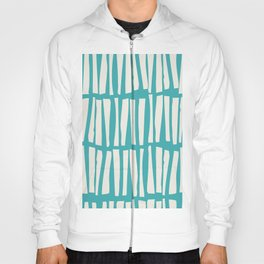 Alabaster White Vertical Dash Stripe Line Pattern on Aqua Teal Turquoise Parable to Aquarium SW 6767 Hoody