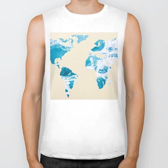 Ocean World Map Sea and Sand Biker Tank