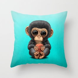Cute Baby Chimp Playing With Basketball Throw Pillow