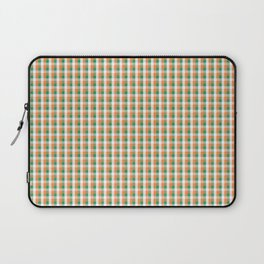 Small Orange White and Green Irish Gingham Check Plaid Laptop Sleeve