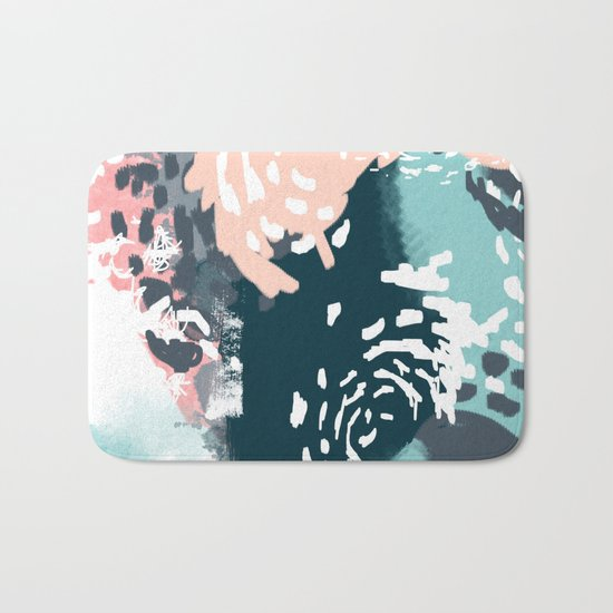 August - abstract minimal trendy color palette hipster home decor Bath Mat