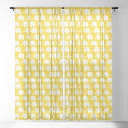 Elephant Parade on Yellow Sheer Curtain