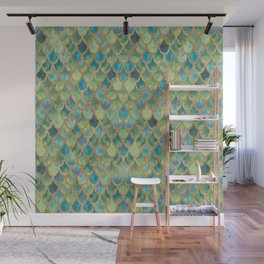 Mermaid Scales (green) Wall Mural