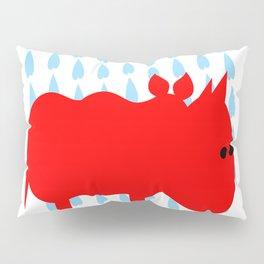 RED RHINO in rain Pillow Sham