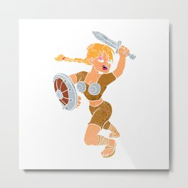 cartoon viking girl. Metal Print