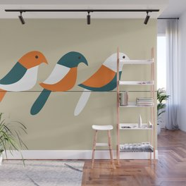 Birds on wire Wall Mural