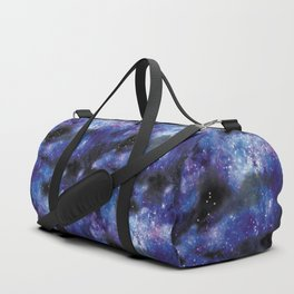 galaxy in pixel art blue Duffle Bag