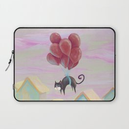 Flying black cat, cute kittens, blue eyes, lovely animals, CG, comic, sweet home, journey, graphic Laptop Sleeve