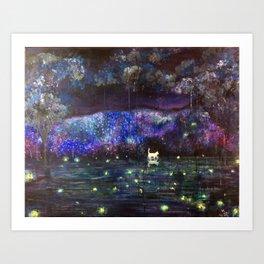 Midnight in garden Art Print
