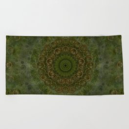 """""""Autumn mandala"""" (Green-Grey Pattern) Beach Towel"""