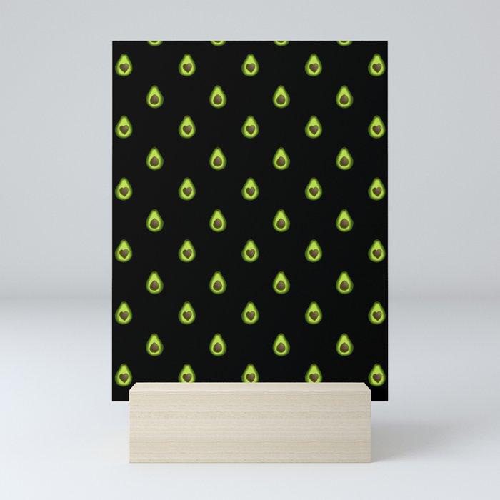 Avocado Hearts (black background) Mini Art Print