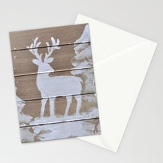 Wood slat deer in the snowy woods Stationery Cards