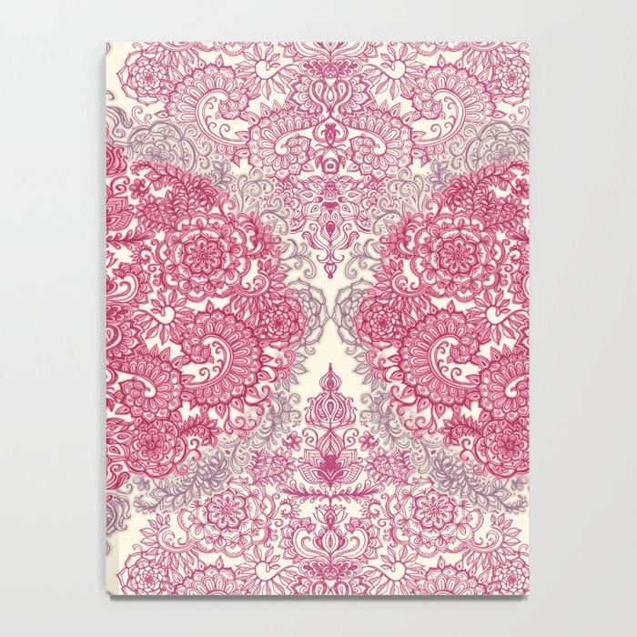 Happy Place Doodle in Berry Pink, Cream & Mauve Notebook