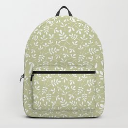 Assorted Leaf Silhouettes White on Lime Ptn Backpack