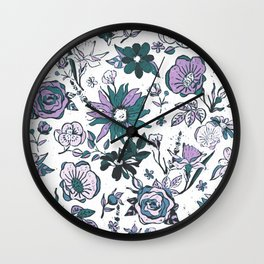 Lilac Purple, Dark Teal Blue & White Garden Chintz Wall Clock