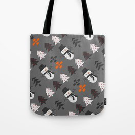 Snowmen and trees Tote Bag