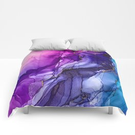 Abstract Vibrant Rainbow Ombre Comforters
