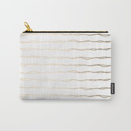 Simply Wavy Lines in White Gold Sands on White Carry-All Pouch