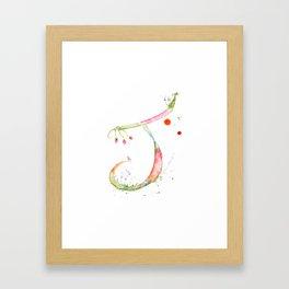 Letter J watercolor - Watercolor Monogram - Watercolor typography - Floral lettering Framed Art Print