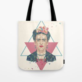 Pastel Frida - Geometric Portrait with Triangles Tote Bag