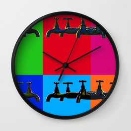 Industrial inspiration for a colorful tap design Wall Clock