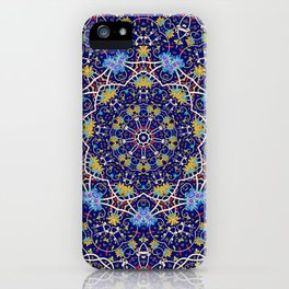Nine sided ornament in blue with swirly things and such iPhone Case