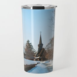 Heavy snow on a street in a traditional Romanian village Travel Mug