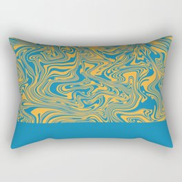 Liquid Swirl - Hawaiian Surf Blue and Citrus Yellow Rectangular Pillow