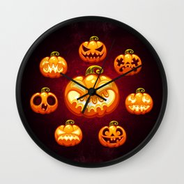Halloween Cartoon Pumpkins Wall Clock