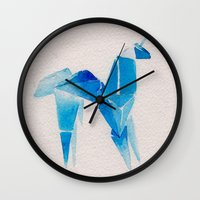 blade runner Wall Clocks featuring Blade Runner| Unicorn by Eazy Verdeacqua