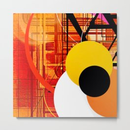Yellow Black and Orange Sticker Abstract Metal Print
