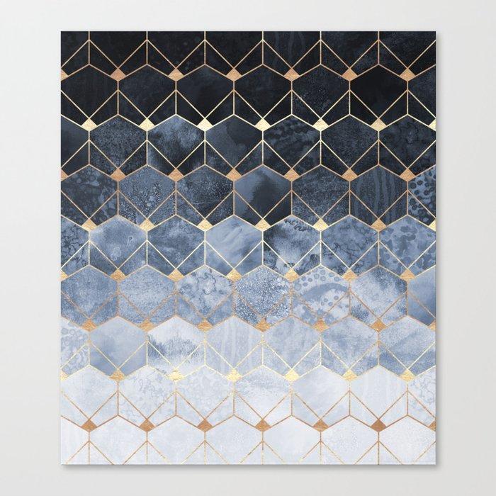 Blue Hexagons And Diamonds Leinwanddruck