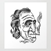 bukowski Art Prints featuring Bukowski by @VEIGATATTOOER