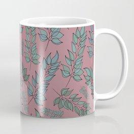 Pink, blue and green leaf pattern Coffee Mug