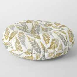 Gold And Silver Leaves Floor Pillow