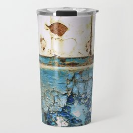 Rust on Blue and White Metal Triptych Travel Mug