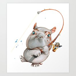 A hippopotamus fishing Art Print