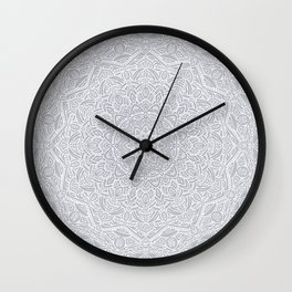 Most Detailed Mandala! Cool Gray White Color Intricate Detail Ethnic Mandalas Zentangle Maze Pattern Wall Clock